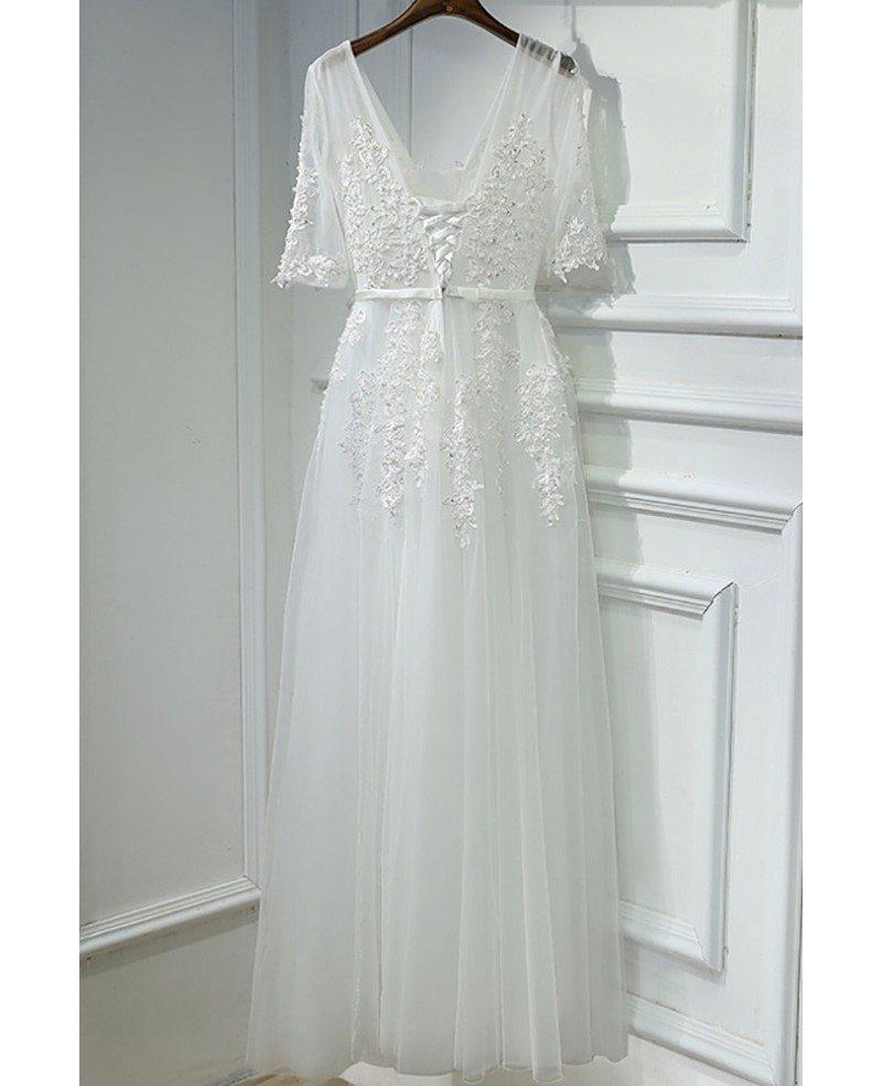elegant long white lace prom formal dress vneck with