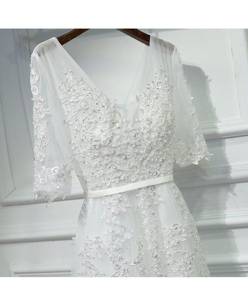 Simple Elegant Long Sleeve V Neck A Line Lace Top Satin: Elegant Long White Lace Prom Formal Dress V-neck With