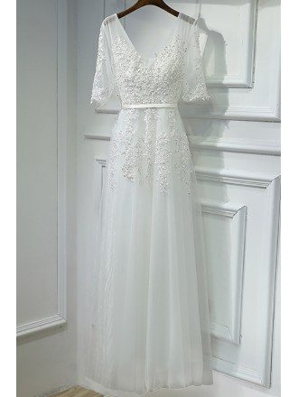 Elegant Long White Lace Prom Formal Dress V-neck With Sleeves