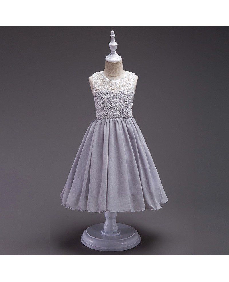 359 Simple Orange Chiffon Flower Girl Dress With White Lace Bodice