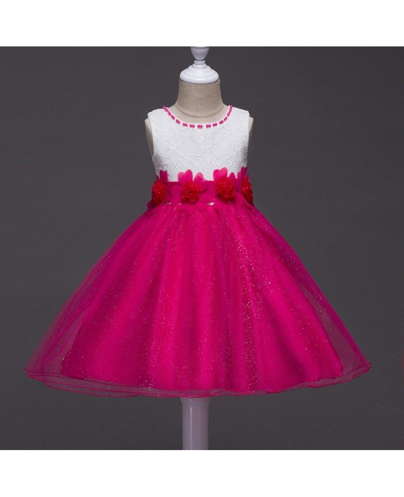 359 Sparkly Red And White Flower Girl Dress With Lace Florals Qx