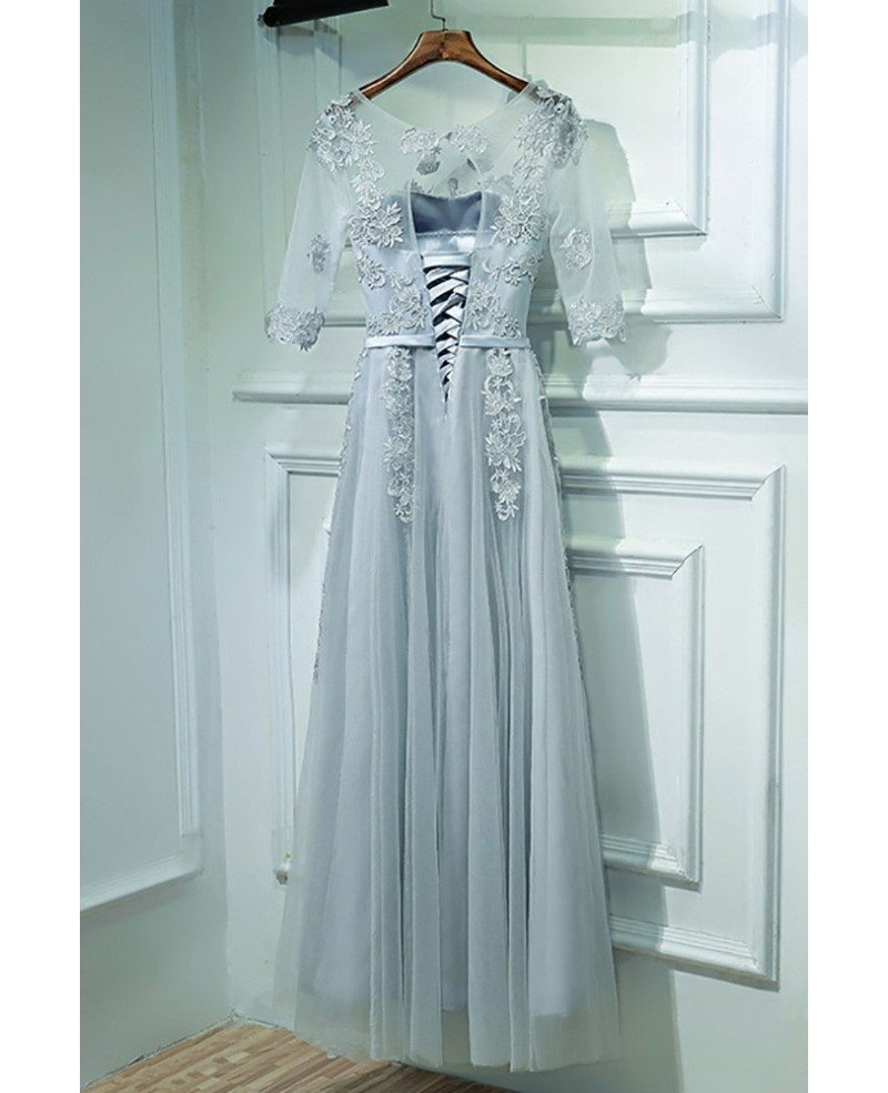 Elegant Grey Short Sleeve Prom Dress Long With Lace #MYX18028 ...