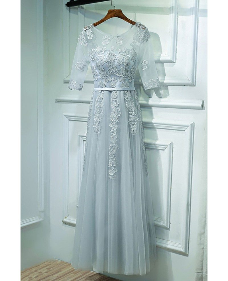 Elegant Grey And White Living Room: Elegant Grey Short Sleeve Prom Dress Long With Lace