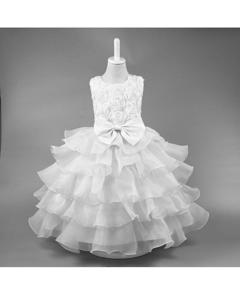 359 Vintage Yellow Floral Ballroom Flower Girl Dress For Wedding