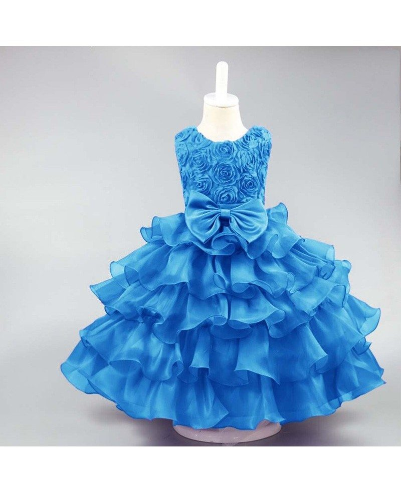 359 Vintage Yellow Floral Ballroom Flower Girl Dress For Wedding