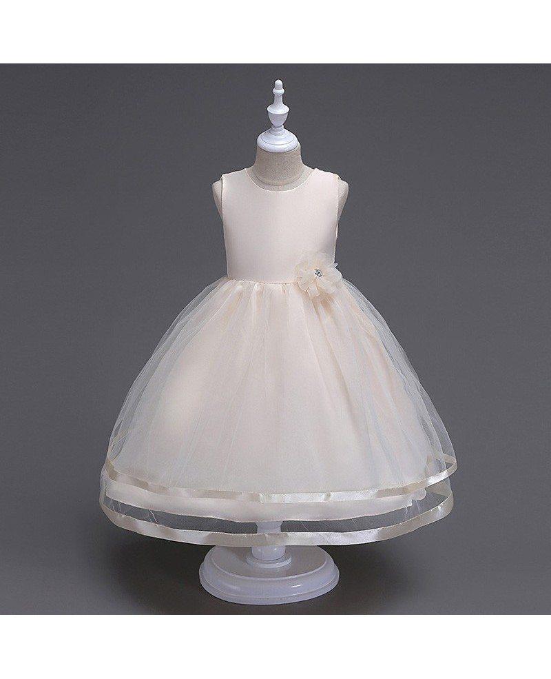 369 Princess Simple White Flower Girl Dress For Little Girls Qx