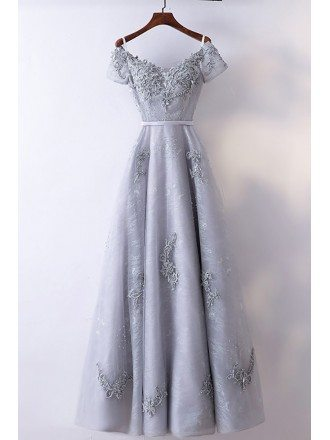 Special A Line Grey Long Prom Dress With Short Sleeves