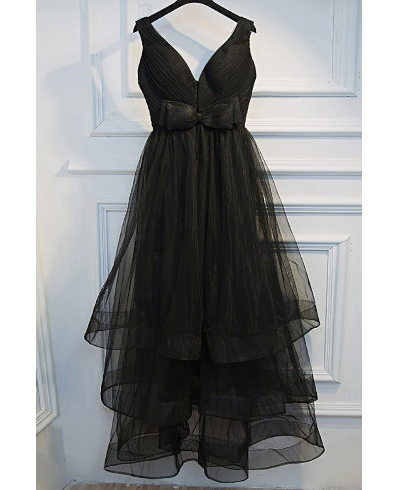 Super Cute Long Black Prom Dress V-neck With Tiered Tulle #MYX18057 ...