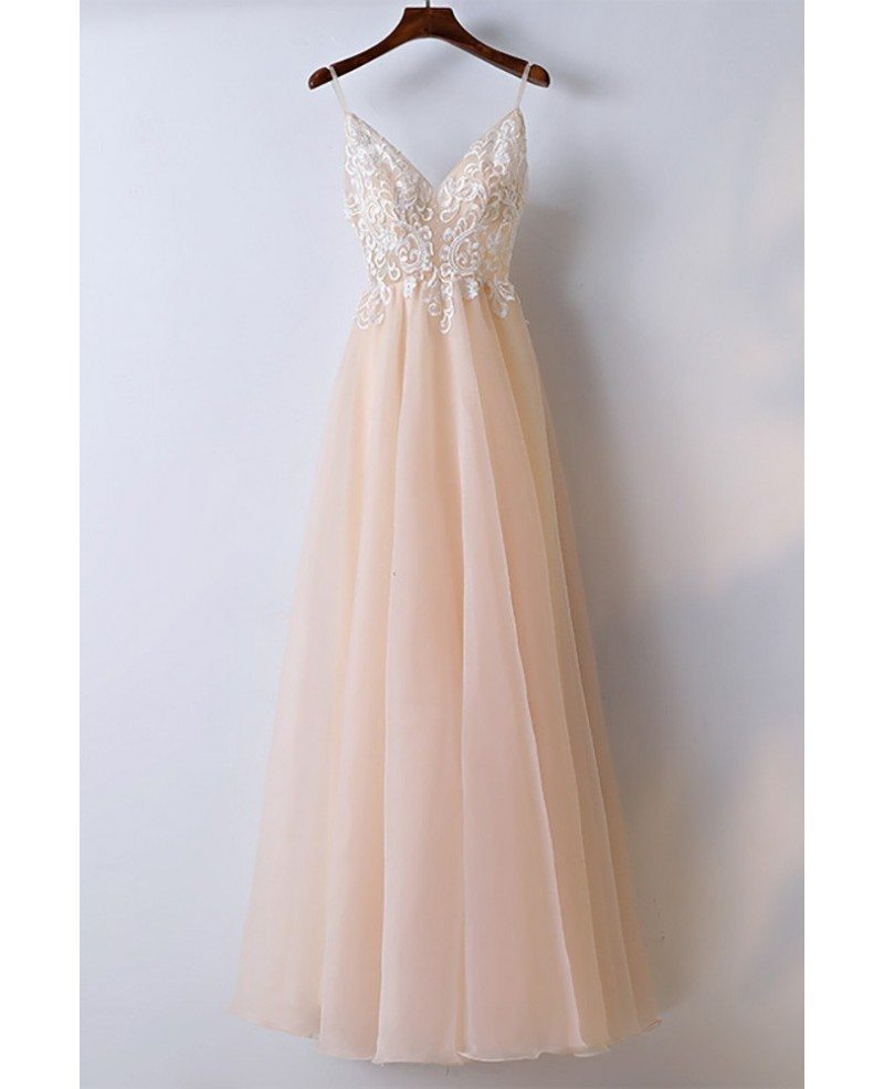 Boho Champagne Lace Long Prom Dress With Spaghetti Straps #MYX18059 ...