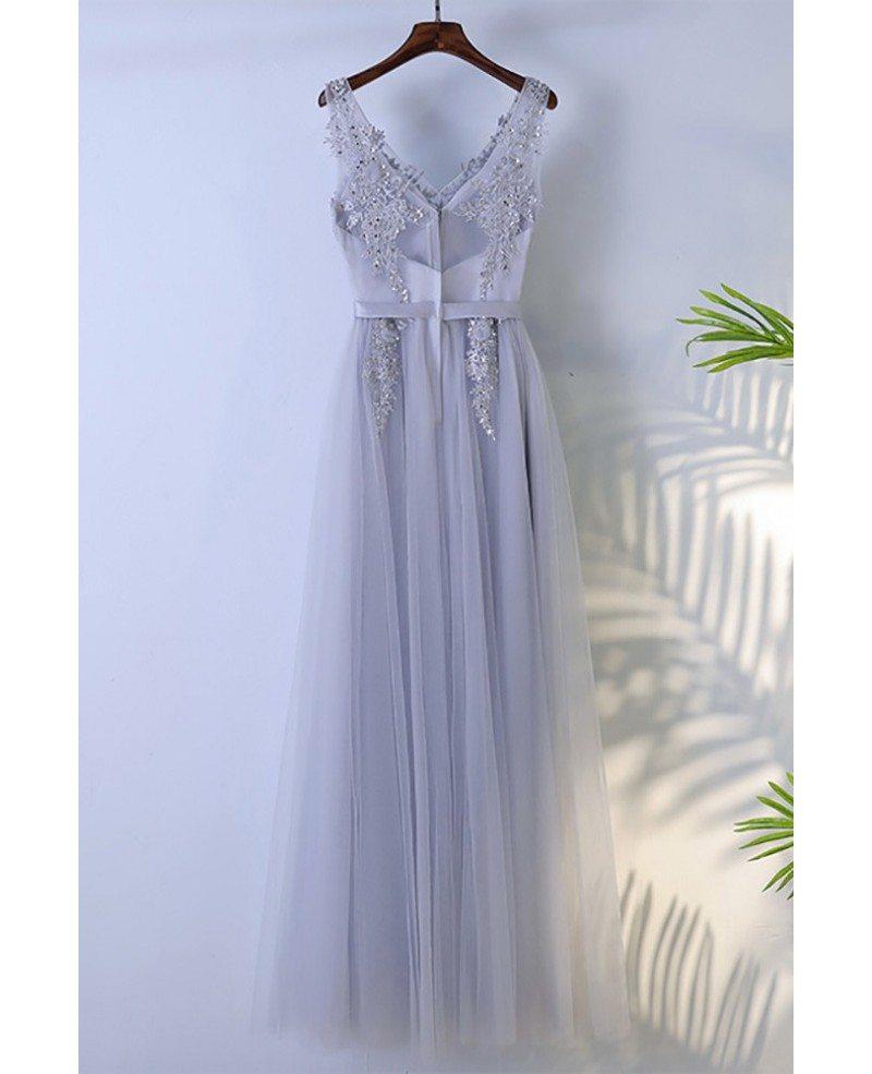 Light slate grey A line Long Prom Dress 2019 Sleeveless V