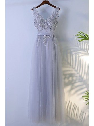 Grey Beaded Long Tulle Prom Dress V-neck Sleeveless