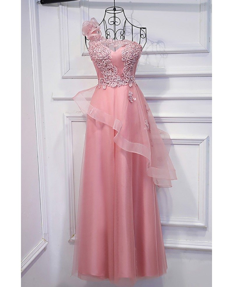 Super Cute Pink One Shoulder Prom Dress Long With Applique Lace ...