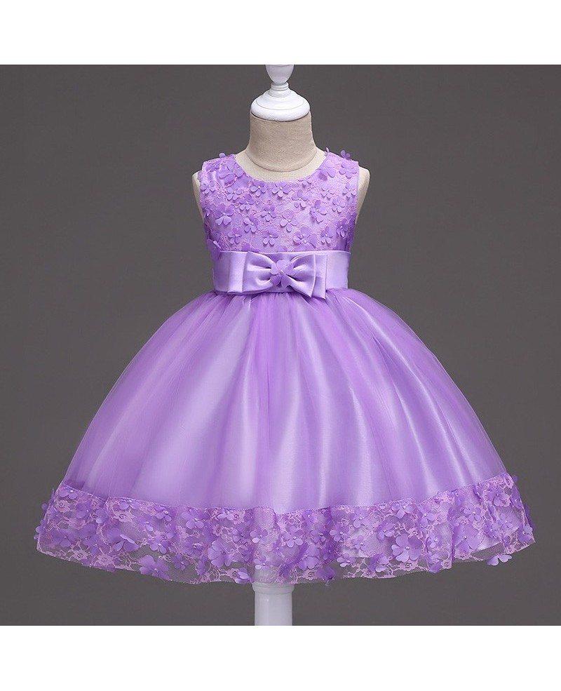 36 9 Burgundy Short Flower Girl Dress With Floral Hem For
