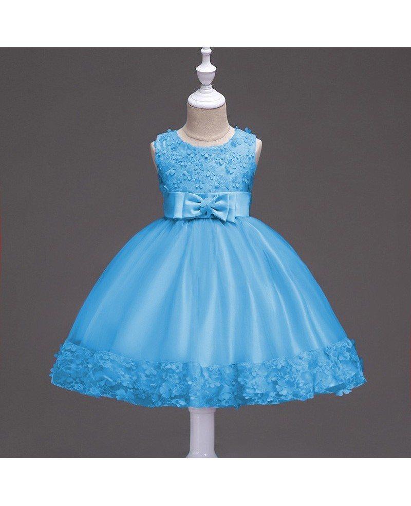 $36.9 Burgundy Short Flower Girl Dress With Floral Hem for Wedding ...