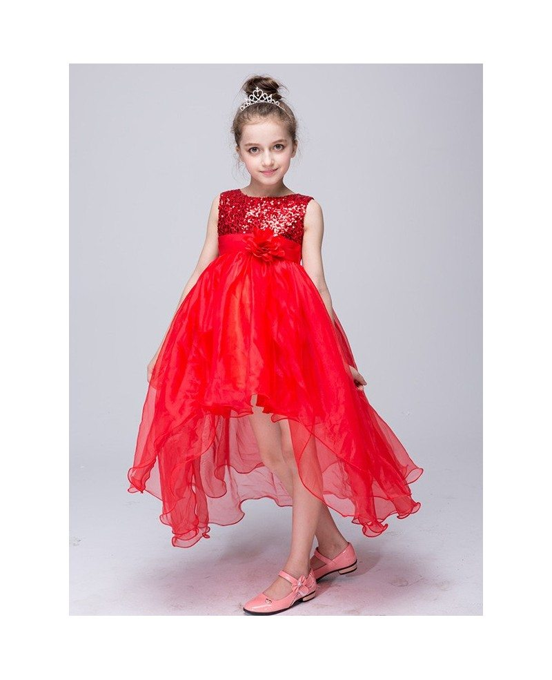 $36.9 Lime Green High Low Tulle Flower Girl Dress With