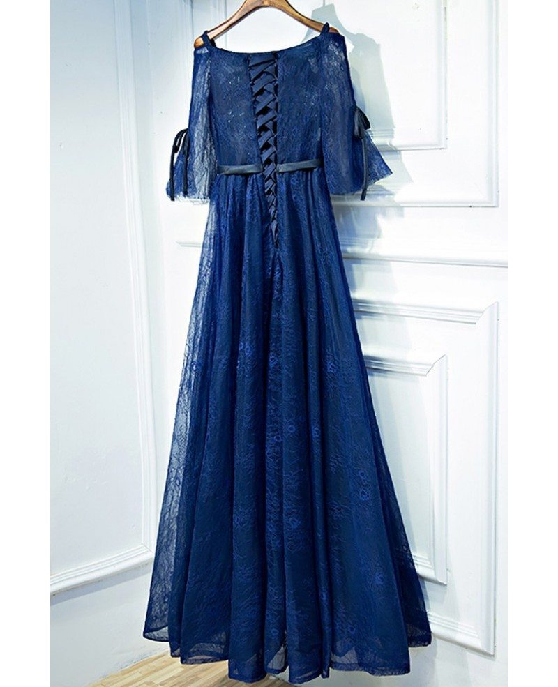 Beautiful Navy Blue Lace Long Formal Prom Dress With Sleeves #MYX18083 - GemGrace.com