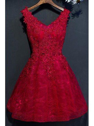 Short A Line Reception Party Dress Sleeveless