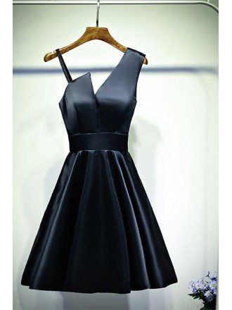 Little Black Chic Short Satin Cocktail Party Dress A Line