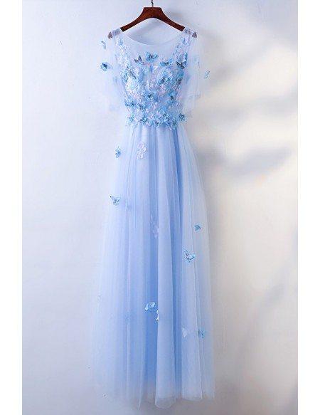 Cute Blue Flowy Long Cheap Prom Dress With Butterflies #MYX18091 ...