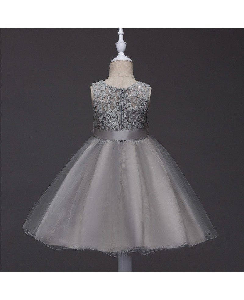 359 Cheap Toddler Blue Lace Flower Girl Dress With Sash Qx L098