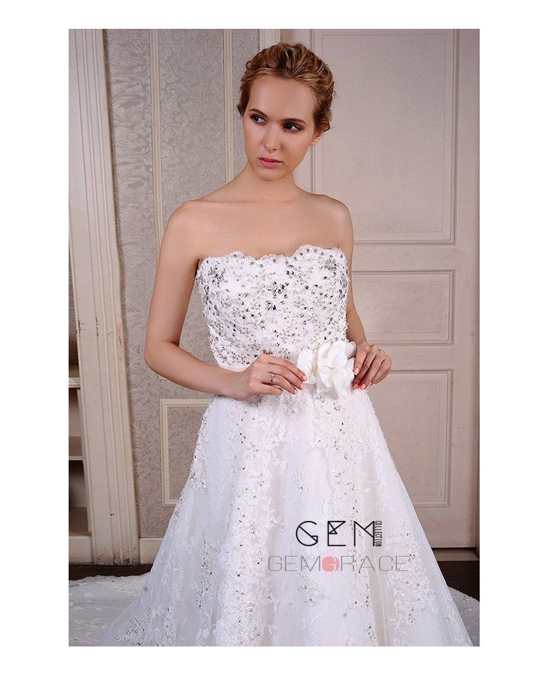 Cathedral Wedding Gowns: Ball-Gown Strapless Cathedral Train Lace Wedding Dress