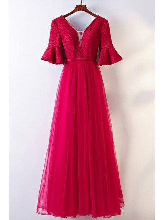Burgundy A Line Long Formal Party Dress With Butterfly Sleeves