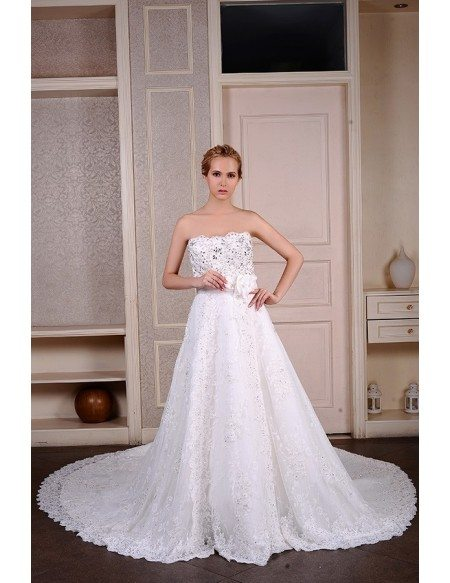 Ball-Gown Strapless Cathedral Train Lace Wedding Dress With Beading ...