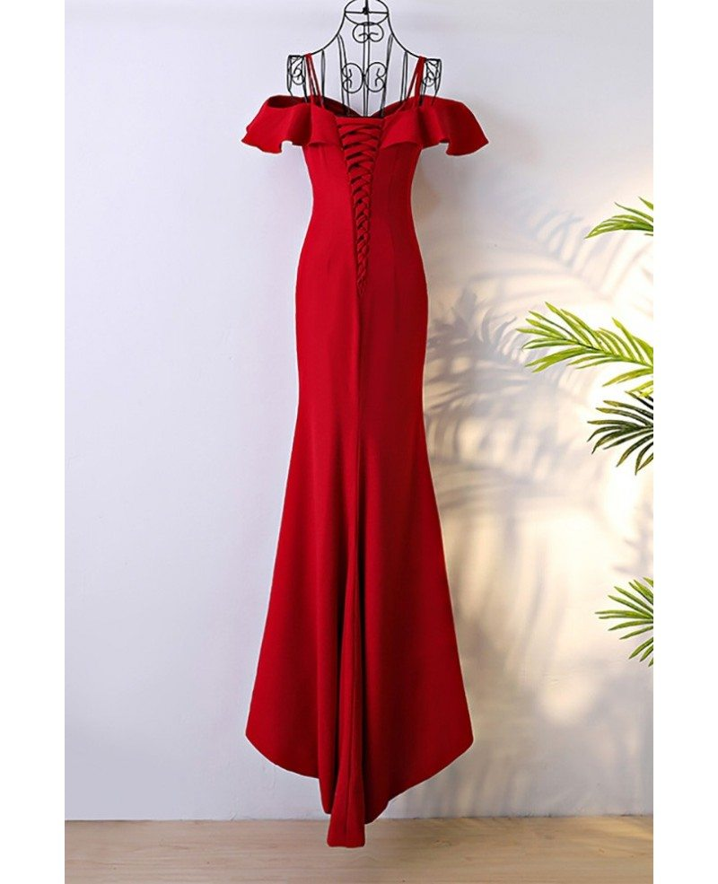 Classy Long Red Mermaid Formal Dress With Train Myx18099