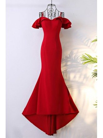 Classy Long Red Mermaid Formal Dress With Train