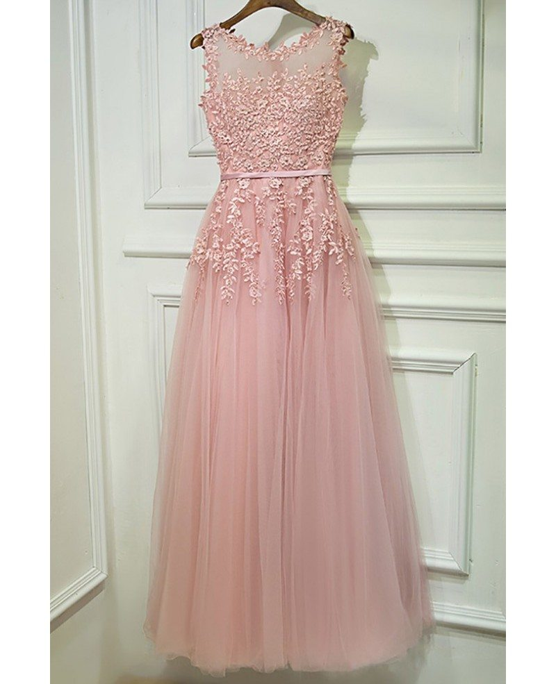 Gorgeous Pink Tulle Prom Dress Long With Lace Sleeveless #MYX18104 ...