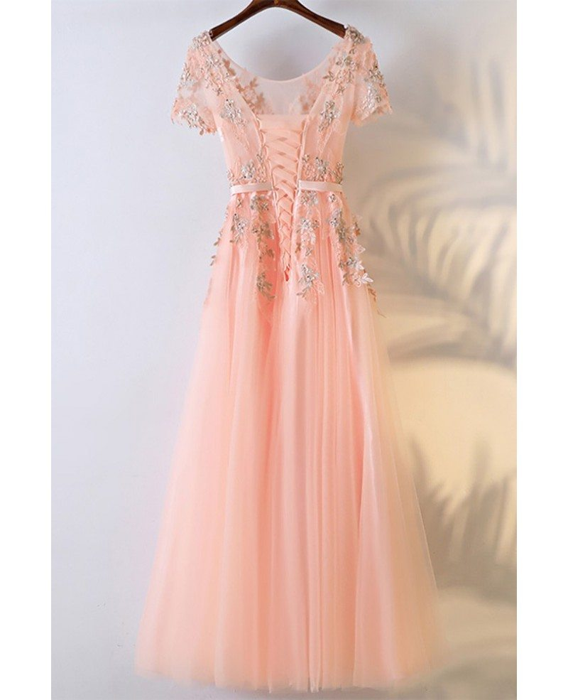 Peachy Pink Round Neck Long Prom Dress With Short Sleeves #MYX18114 ...