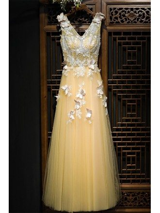 Flowy Long Champagne Tulle Prom Dress With Lace Butterflies