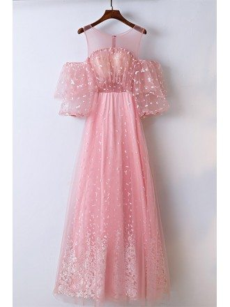 Lovely Pink Applique Lace Long Prom Dress Different
