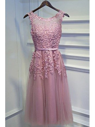 Pretty Pink Lace Short Party Dress Sleeveless With Appliques