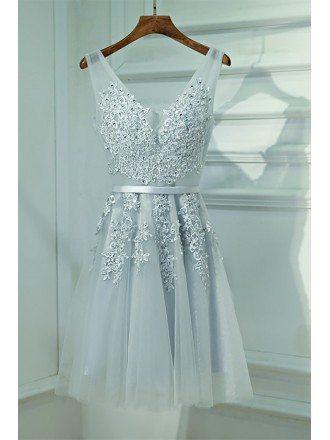 Silver V-neck Short Lace Reception Party Dress V-neck