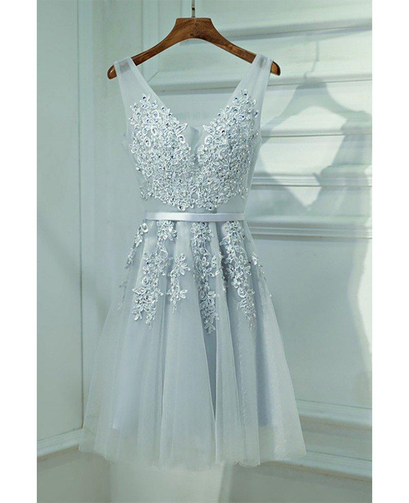 Silver V-neck Short Lace Reception Party Dress V-neck #MYX18122 ...