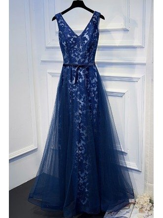 Unique Navy Blue Long Lace Prom Dress V-neck With Sash