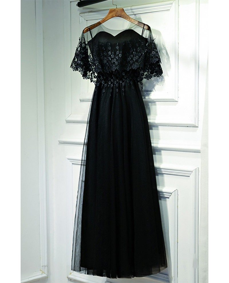 Classy Long Black Lace Formal Dress With Butterfly Sleeves #MYX18127 ...