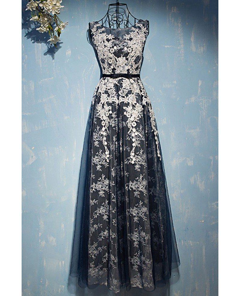 Different White With Navy Blue Lace Prom Dress Sleeveless Myx18129 In