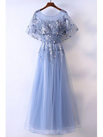 Different Blue Cap Sleeve Long Party Dress For Formal