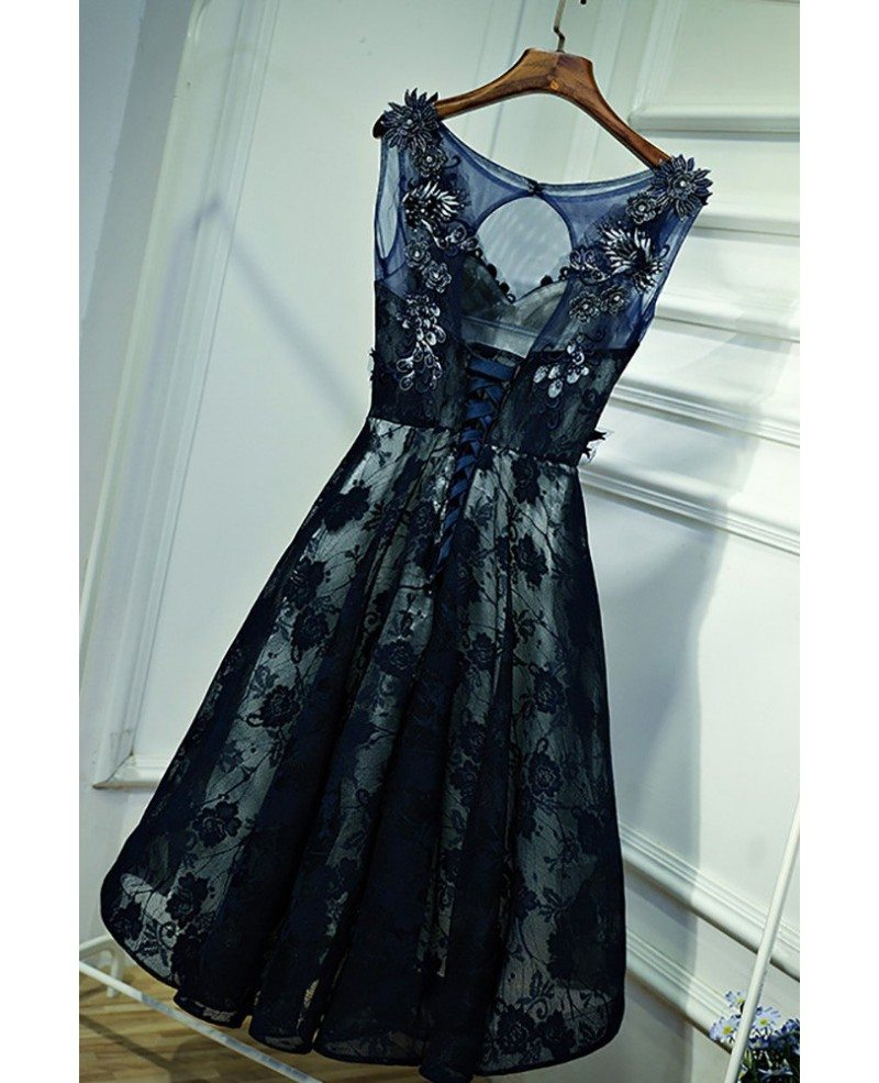 Gorgeous Navy Blue Lace Short Formal Party Dress With Appliques ...