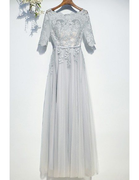 Classy silver flowy long tulle prom dress with short for Flowy wedding dresses with sleeves