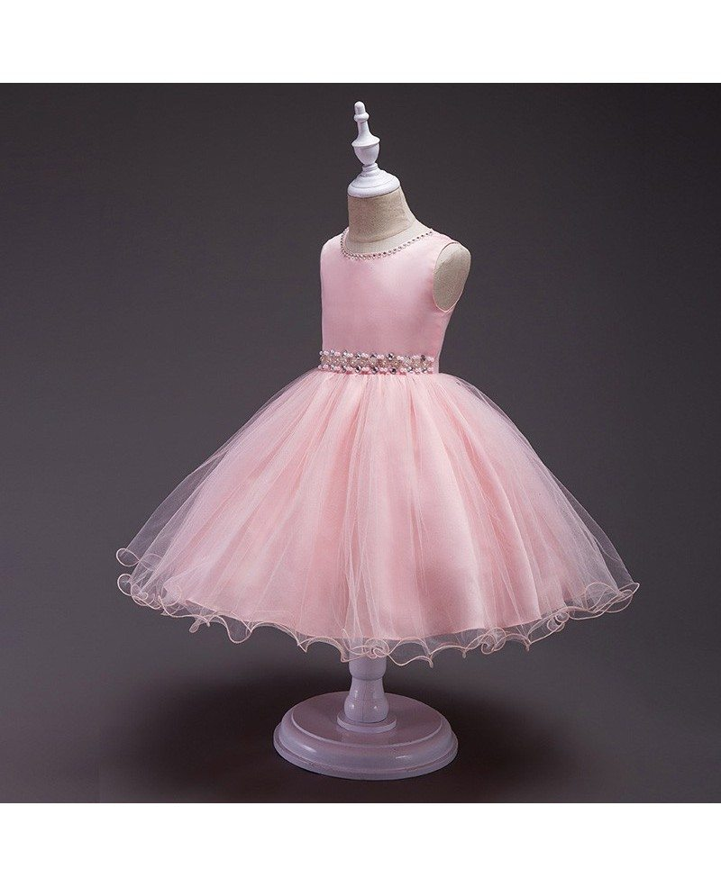 359 Cute Tutu Beaded Girls Wedding Dress Flower Girl Dress For