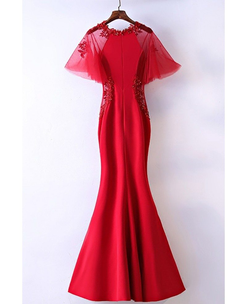 Slim Satin Long Mermaid Formal Dress With Butterfly Sleeves ...