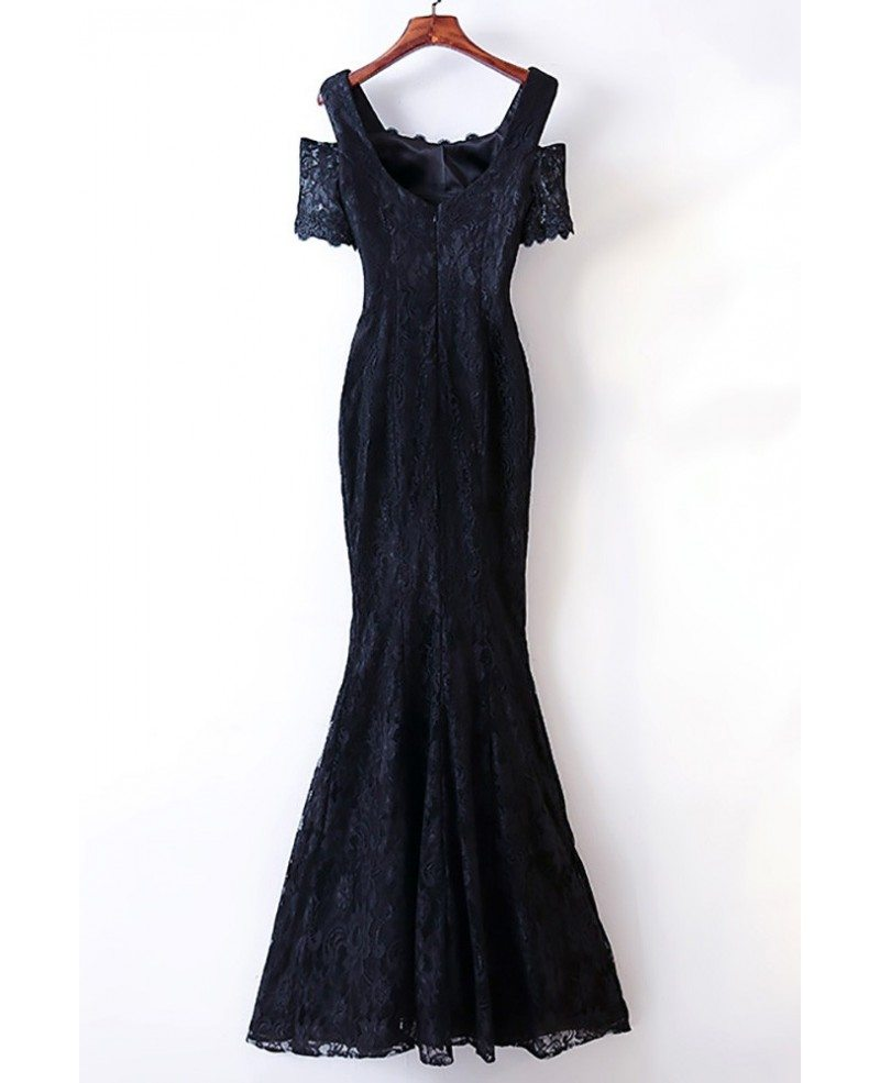 Elegant Long Black Lace Mermaid Prom Dress Cold Shoulder