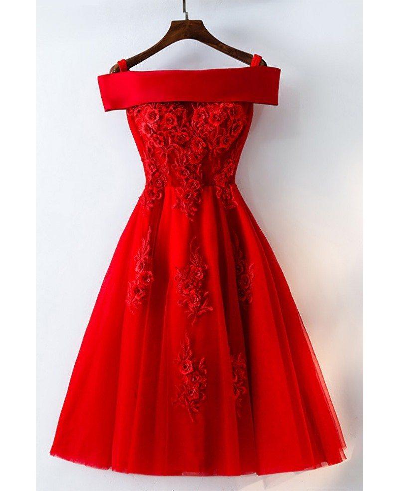 Short off shoulder red lace bridal party dress myx18171 for Short red wedding dresses
