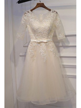 Light Yellow Lace Short Sleeve Bridal Reception Party Dress