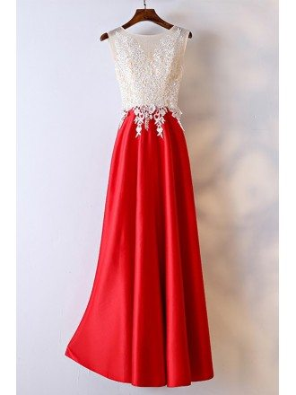 White And Red Lace Long Formal Dress For Women