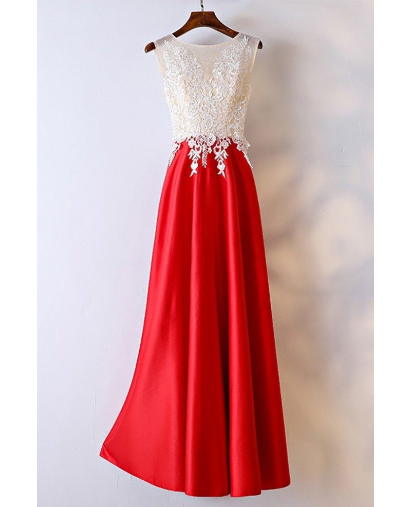White And Red Lace Long Formal Dress For Women Myx18176 Gemgrace