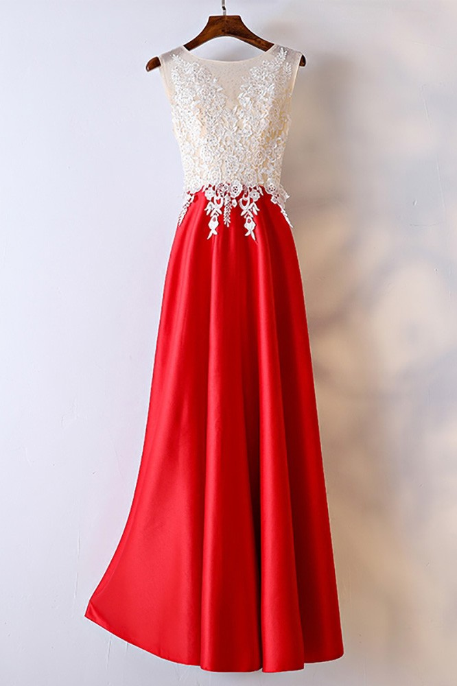 White And Red Lace Long Formal Dress For Women Myx18176